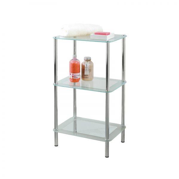 Free Standing 3-Tier Rectangular Glass Bathroom Shelf Unit