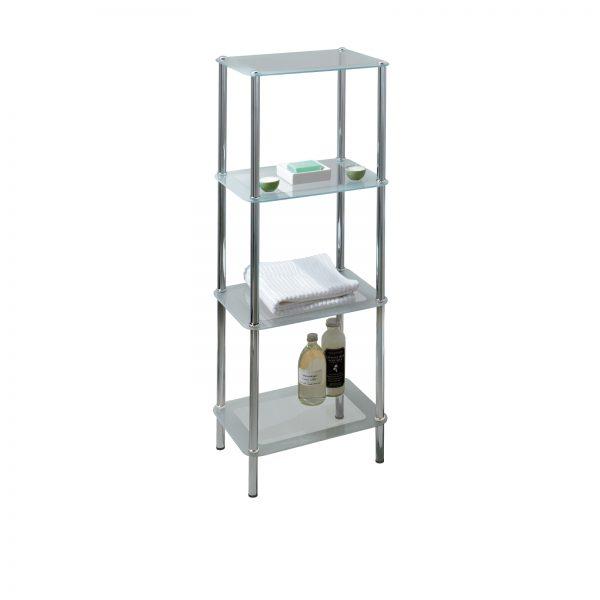 Free Standing 4-Tier Rectangular Glass Bathroom Shelf Unit