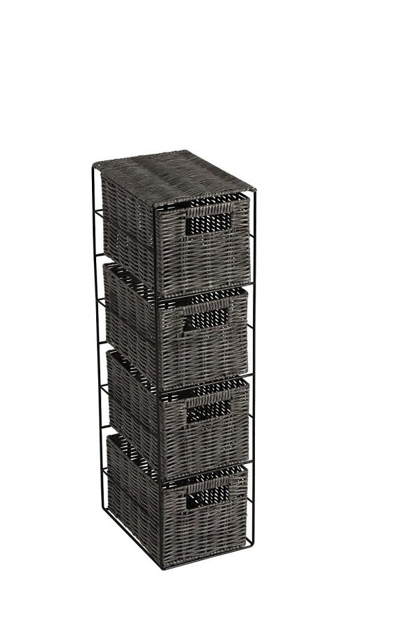 Matteo Faux Wicker Willow 4 Drawer Slimline Tower