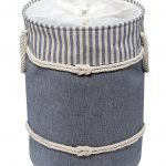 Nautica Laundry Hamper Navy/Cream with Drawstring