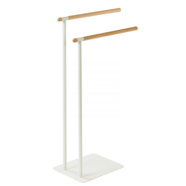 """Free Standing White & Beech """"Almond"""" Towel Rail / Stand"""
