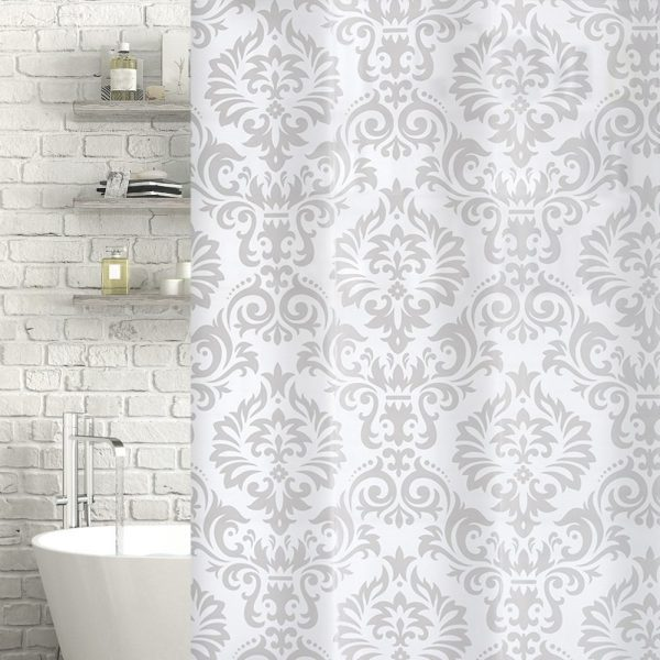 "Patterned White / Frosted ""Angel"" EVA Plastic Shower Curtain (180cm x 180cm)"