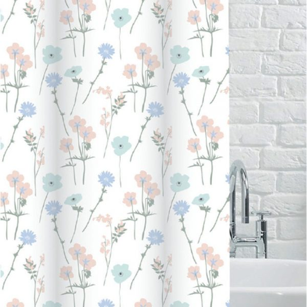 """100% Polyester """"Ashley"""" Printed Flower Pattern Shower Curtain"""