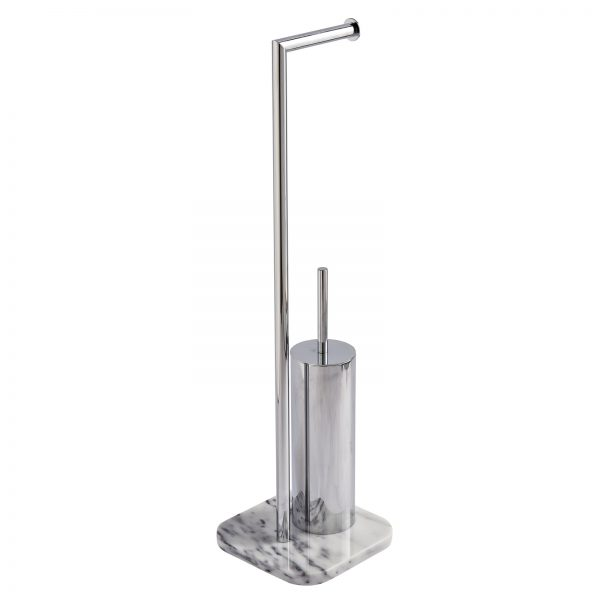 "Marble Free Standing ""Athena"" Toilet Roll Holder & Toilet Brush Combo"