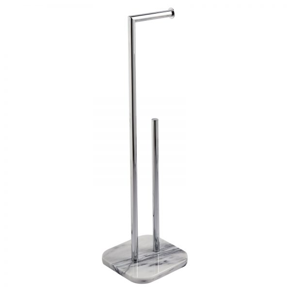"""Marble Free Standing """"Athena"""" Toilet Roll Holder & Spare Toilet Roll Holder"""