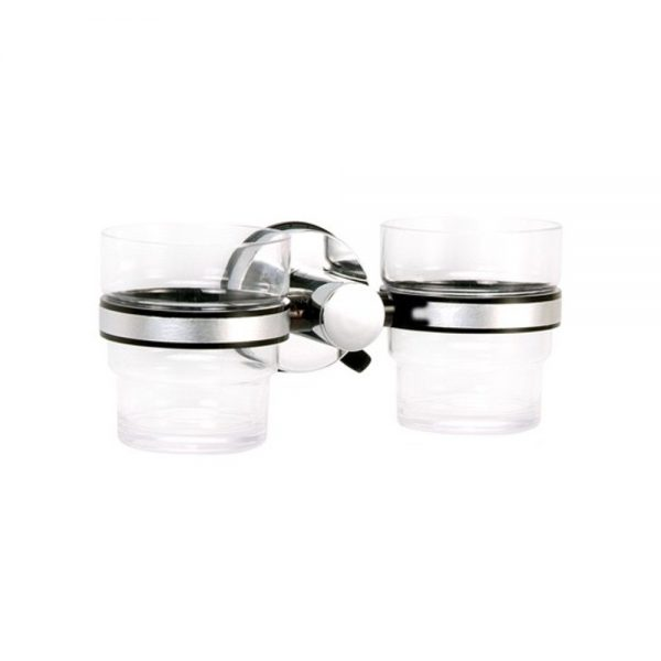"""Super Suction """"Axis"""" Chrome / Black Double Bathroom Tumbler/Toothbrush Holder"""