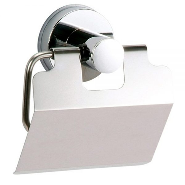 """Super Suction """"Axis"""" Chrome / Black Toilet Roll Holder"""