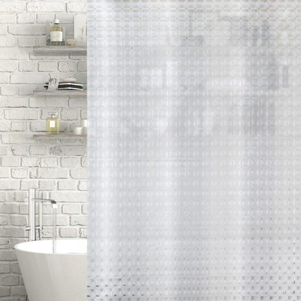 "Patterned Clear / Frosted ""Camden"" EVA Plastic Shower Curtain (180cm x 180cm)"