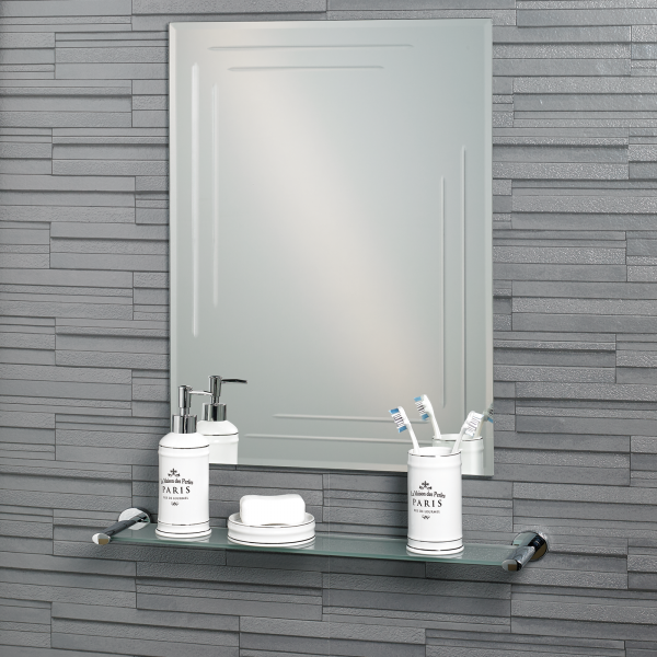 "Frameless Rectangular Diamond Cut ""Chelsea"" Bathroom Mirror 60x45cm"