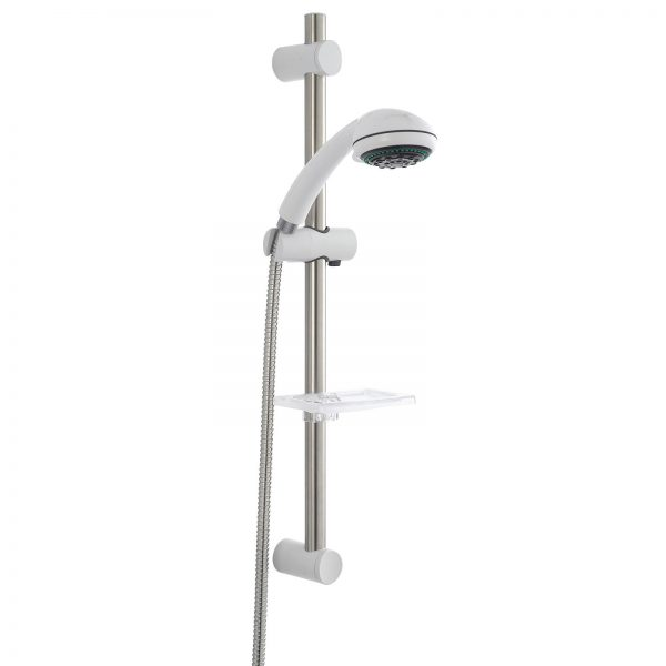 "White ""Cinqo"" Shower Head with 5 Spray Modes"