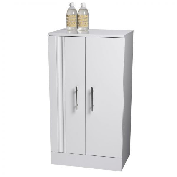 "Floor Standing White ""Como"" Bathroom Cabinet w/ Soft Close Double Doors"