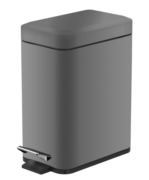 """Stainless Steel """"Cube"""" Soft Close 5-Litre Bathroom / Kitchen / Office Pedal Bin (4)"""