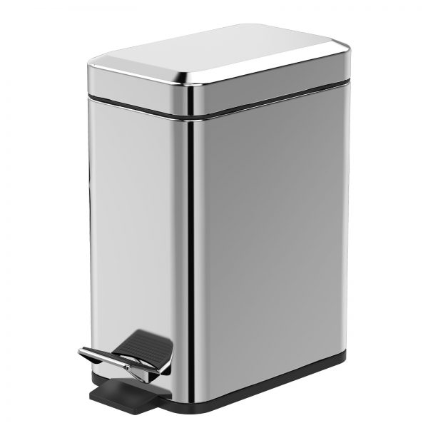 """Stainless Steel """"Cube"""" Soft Close 5-Litre Bathroom / Kitchen / Office Pedal Bin (3)"""