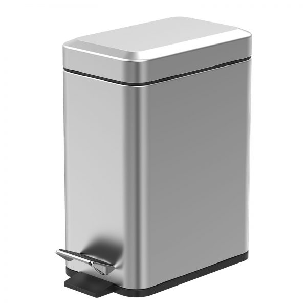 """Stainless Steel """"Cube"""" Soft Close 5-Litre Bathroom / Kitchen / Office Pedal Bin (2)"""