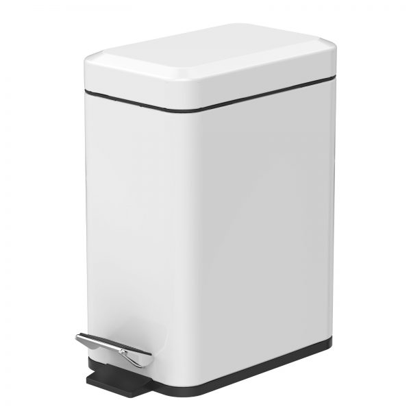 """Stainless Steel """"Cube"""" Soft Close 5-Litre Bathroom / Kitchen / Office Pedal Bin"""