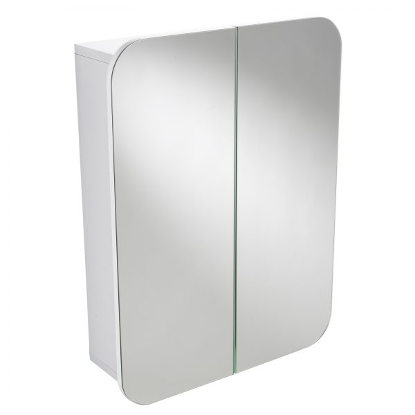"Wall Mounted White ""Denham"" Double Door Bathroom Mirror Cabinet"