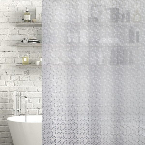 "Patterned Clear / Frosted ""Eden"" EVA Plastic Shower Curtain (180cm x 180cm)"