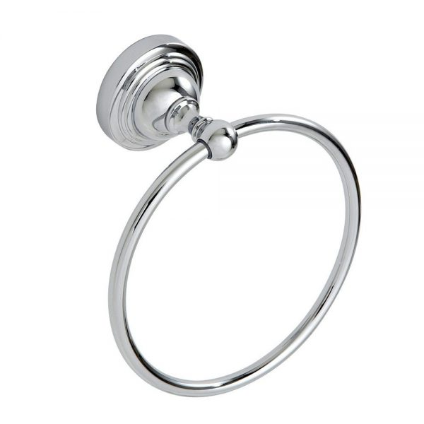 """Wall Mounted Rust Proof Chrome """"Fidelity"""" Towel Ring"""