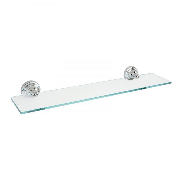 """Wall Mounted Rust Proof Chrome / Glass """"Fidelity"""" Bathroom Shelf"""