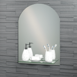 "Frameless Arched ""Greenwich"" Bathroom Mirror with In-Built Vanity Shelf 70x50cm"