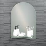 "Frameless Arched ""Greenwich"" Bathroom Mirror with In-Built Vanity Shelf 70x50cm"