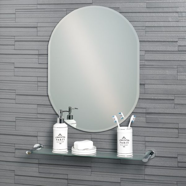 "Frameless Oval Bevelled Edge ""Lincoln"" Large Bathroom Mirror"