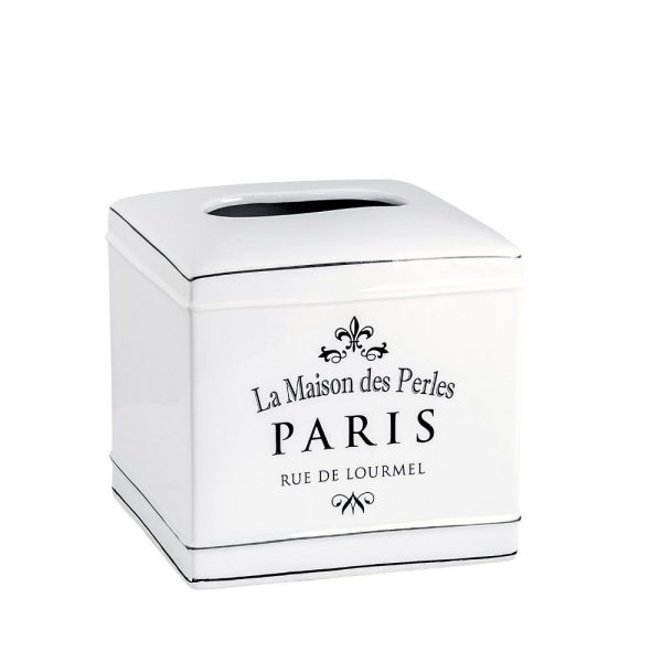 "Salle de Bain Style White Ceramic ""Paris"" Tissue Box"
