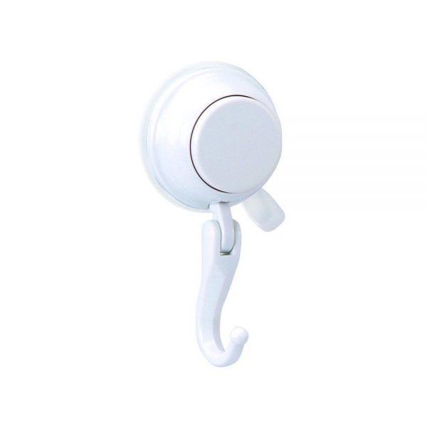 "Super Suction Plastic ""Polar"" White Bathroom Robe Hook"