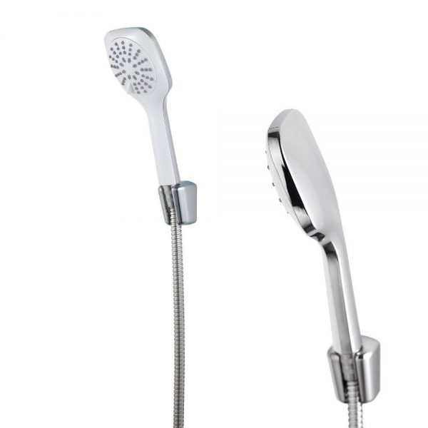"Chrome / White ""Quba"" Shower Head with 3 Spray Modes"