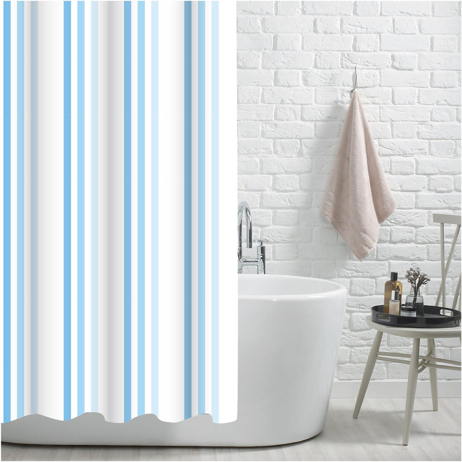 Brighton Rock Blue Striped Shower Curtain