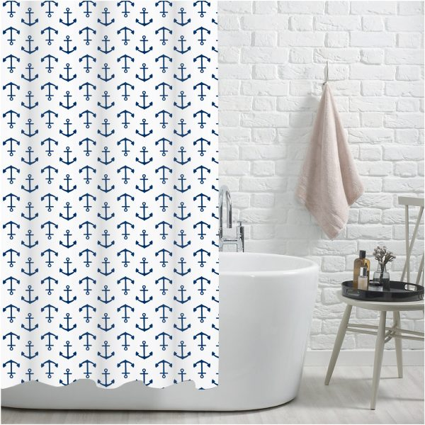 """100% Polyester """"Abersoch"""" Printed Anchor Pattern Shower Curtain"""