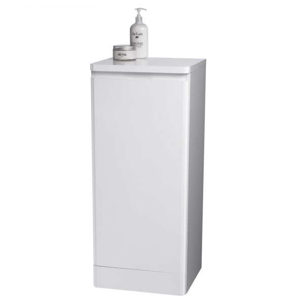 """Rounded White """"Riviera"""" Bathroom Cabinet w/ Soft Close Single Door"""