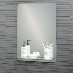 "Frameless Rectangular ""Rochester"" Bathroom Mirror with In-Built Vanity Shelf 70x50cm"