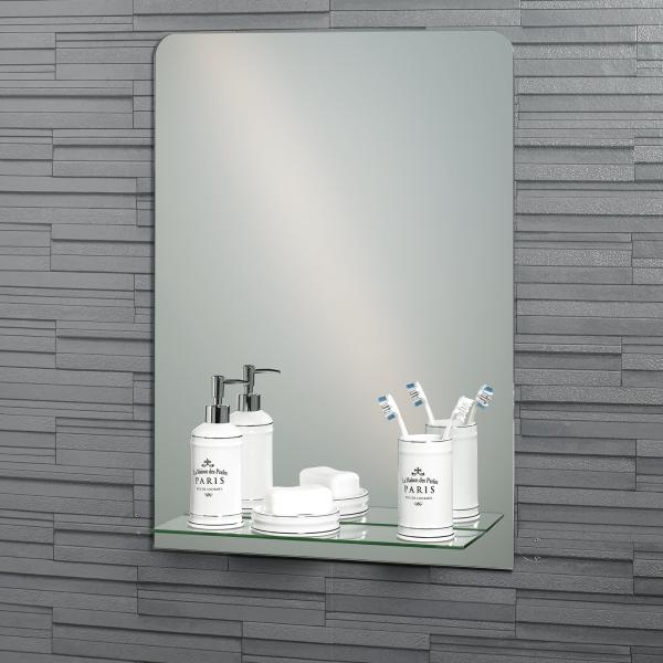 """Frameless Rectangular """"Rochester"""" Bathroom Mirror with In-Built Vanity Shelf 70x50cm"""