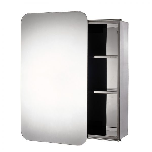 "Stainless Steel ""Sanremo"" Sliding Door Bathroom Mirror Cabinet"