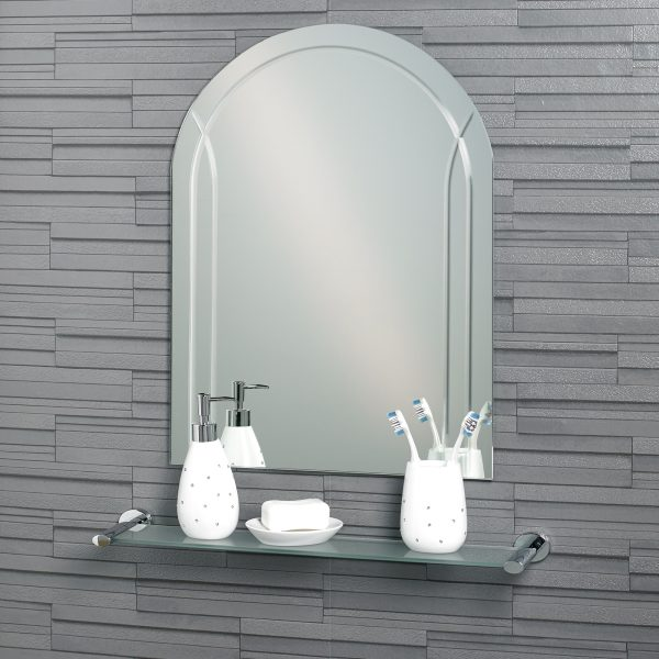 "Frameless Diamond Cut Arch ""Soho"" Bathroom Mirror 60x45cm"