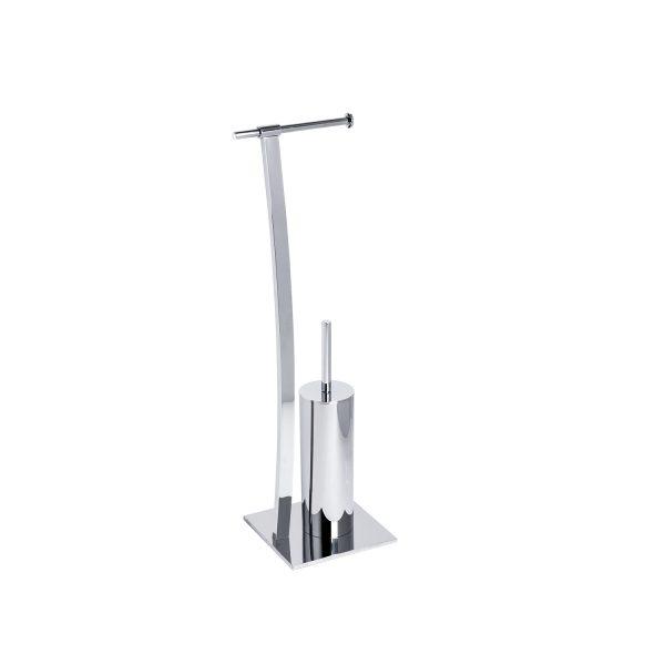 """Free Standing Chrome """"Splendour"""" Toilet Roll Holder & Toilet Brush Combo"""