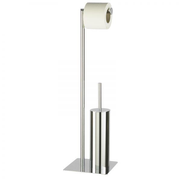 """Free Standing Chrome """"Stamford"""" Toilet Roll Holder & Toilet Brush Combo"""