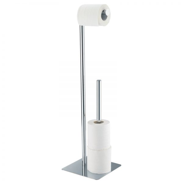 "Free Standing Chrome ""Stamford"" Toilet Roll Holder & Spare Toilet Roll Holder Combo"