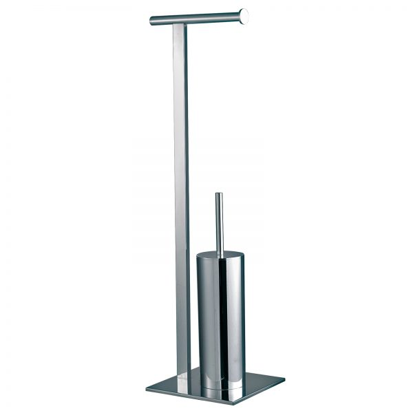 "Free Standing Steel ""Superbia"" Toilet Roll Holder & Toilet Brush Combo with Polished Chrome Finish"