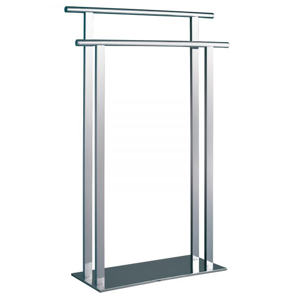 "Free Standing Steel ""Superbia"" Towel Rail / Stand with Polished Chrome Finish"