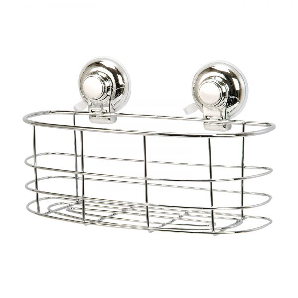 "Super Suction ""Vertex"" Chrome Effect Bathroom Oval Basket / Caddy"