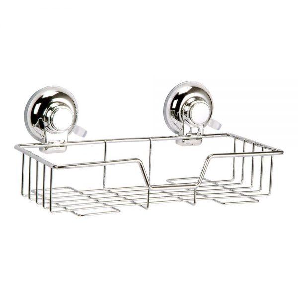 "Super Suction ""Vertex"" Chrome Effect Rectangular Bathroom Basket / Caddy"