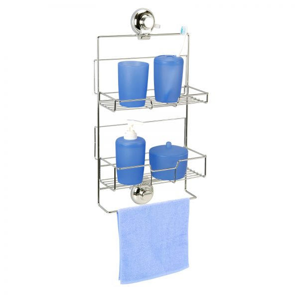"Super Suction ""Vertex"" Chrome Effect Adjustable Shower Caddy"
