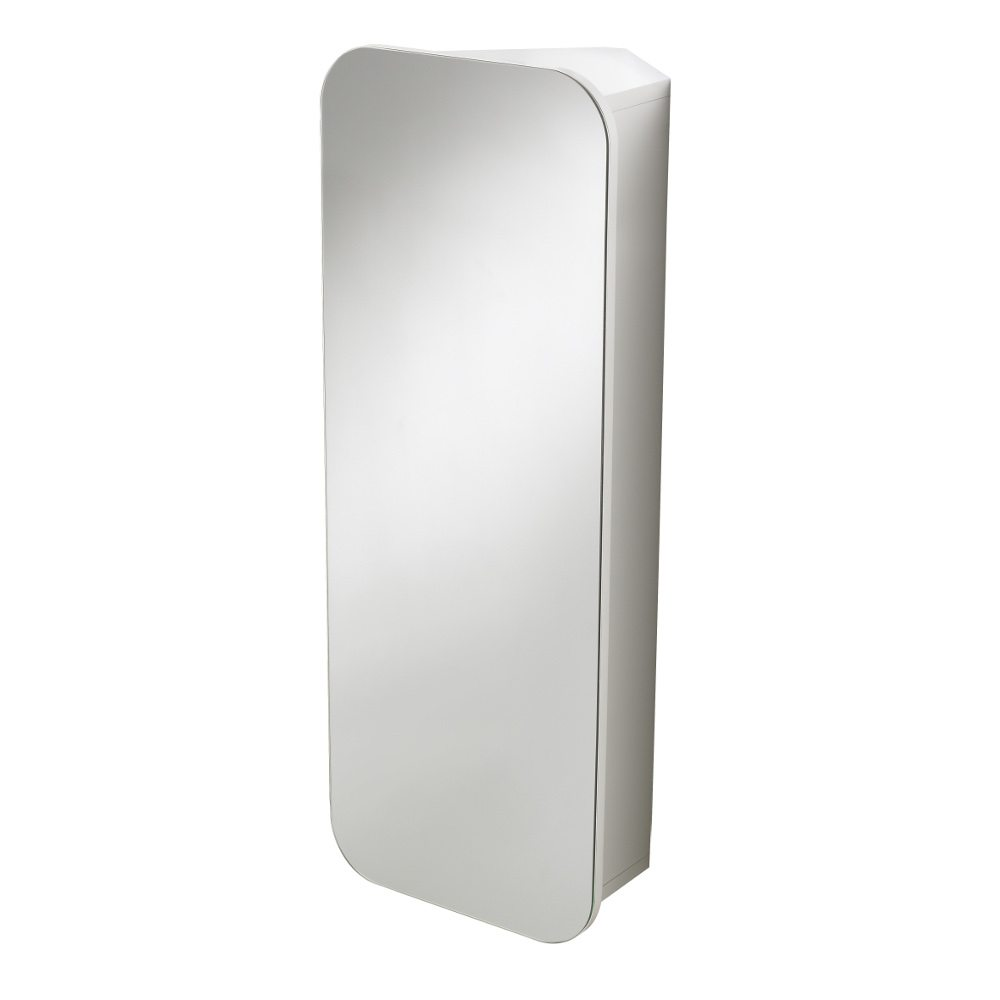 Wall Mounted White Adelaide Single Door Bathroom Mirror Cabinet