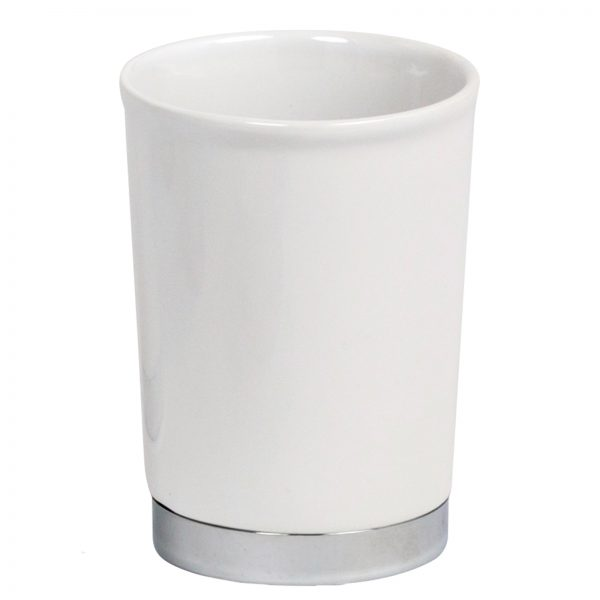 "White Ceramic ""Chatsworth"" Bathroom Tumbler / Toothbrush Holder"
