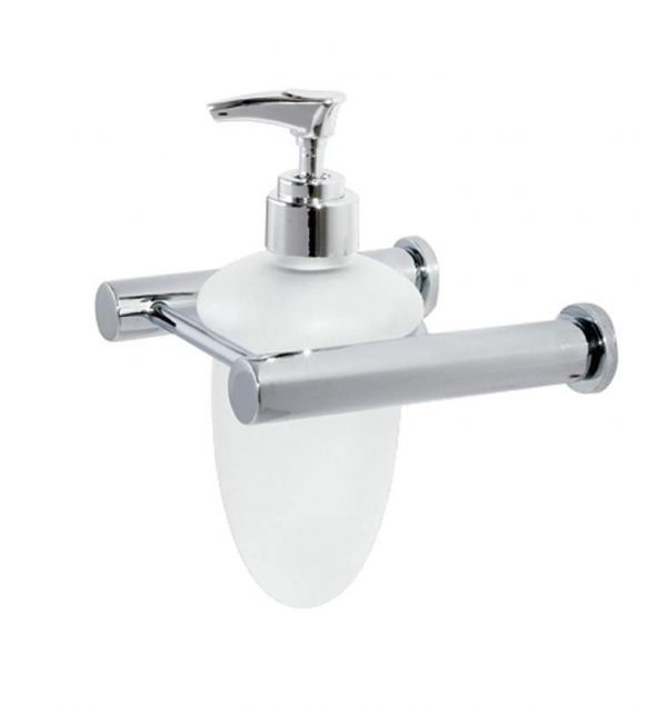 "Wall Mounted Rust Proof Chrome / Glass ""Infinity"" Liquid Soap Dispenser"