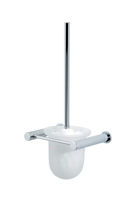 "Wall Mounted Rust Proof Chrome / Glass ""Infinity"" Toilet Brush & Holder"