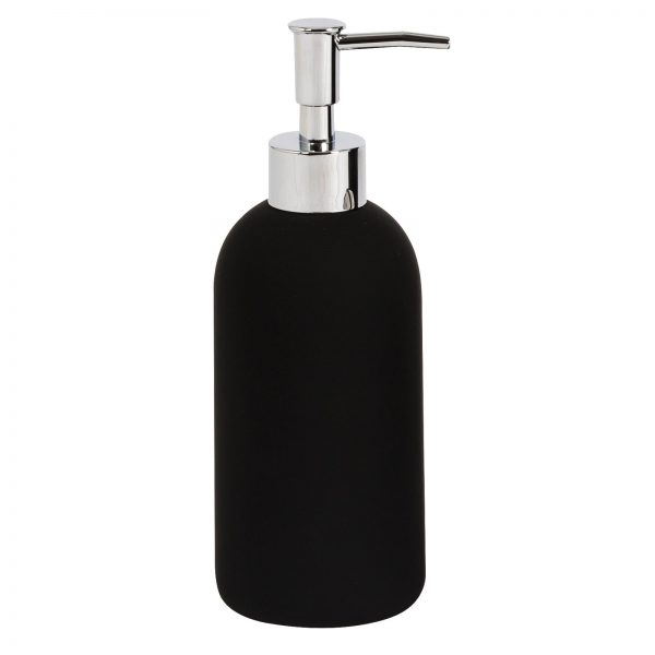Fumo Black Bathroom Soap Lotion Dispenser Rubberised Ceramic