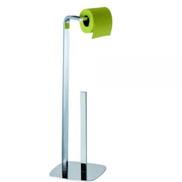 "Free Standing ""Kingston"" Steel Toilet Roll & Spare Toilet Roll Holder with Chrome Finish"